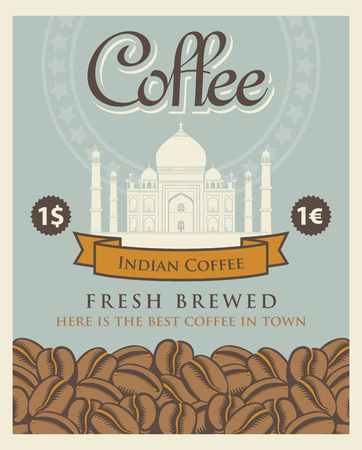 mausoleum: Vector banner with coffee beans and a view taj mahal in india with the inscription Indian coffee.