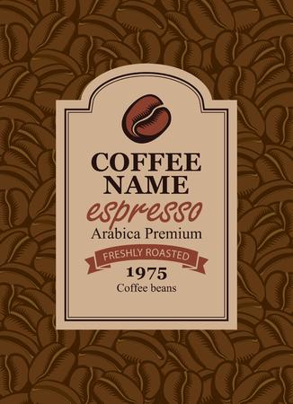 zaprojektuj etykietę wektorową dla ziaren kawy w stylu retro na tle ziaren