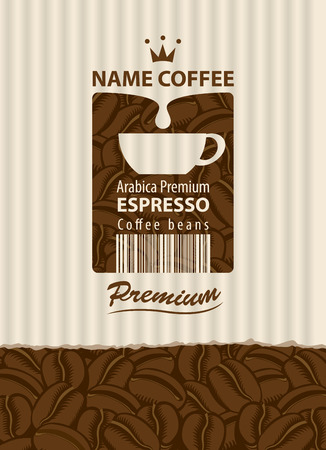 design vector label for coffee beans with cup and barcode in retro style on the striped background Illustration