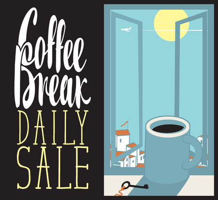 vector banner cup of coffee on the window sill with cityscape and inscription coffee break Illustration