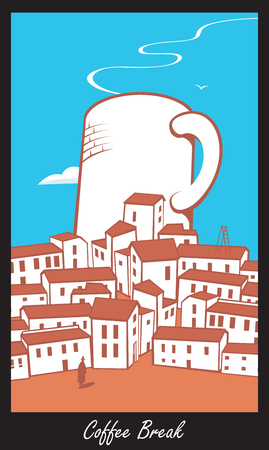 eatery: Scene with a big cup of coffee in town with inscriptions Coffee break in retro style Illustration