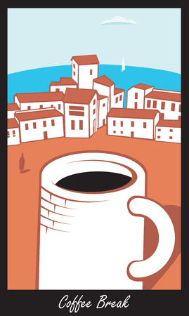 clouds: Scene with a big cup of coffee in town by sea in retro style. Inscription Coffee break Illustration
