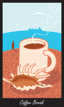 tea hot drink: cup of coffee on the beach with shells and labeled coffee break in retro style