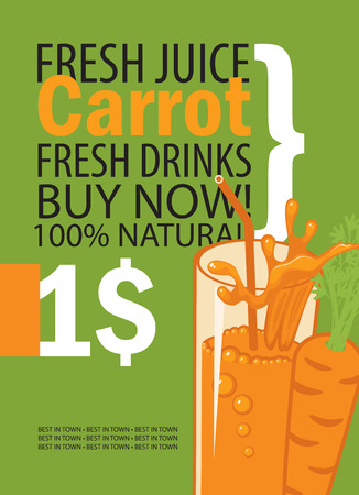 leaf: vector banner with carrot, glass of juice and text on green background