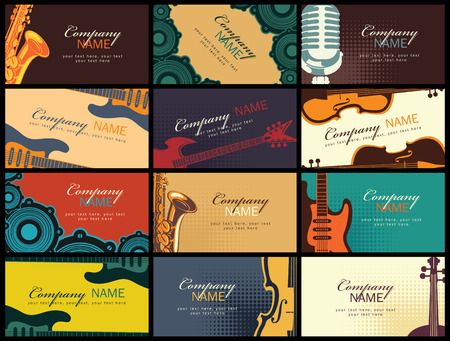 the resonator: set of twelve horizontal business cards with musical instruments on coloured backgrounds