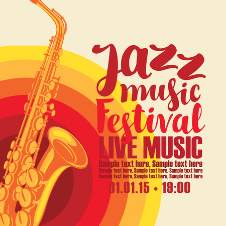 solo: music concert poster for a jazz festival live music with the image of a saxophone on the colored background. Illustration
