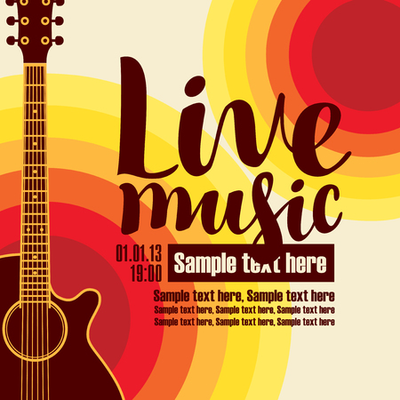 music poster for a concert live music with the image of a guitar on the colored background.
