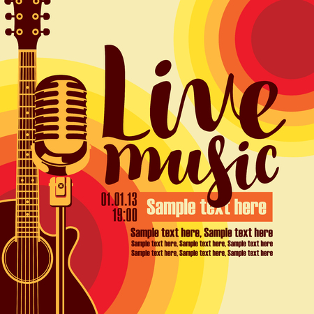 vector music poster for a concert live music with the image of a guitar and microphone on the colored background Vectores