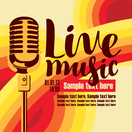 voices: vector music poster for a concert live music with the image of a microphone on the colored background Illustration