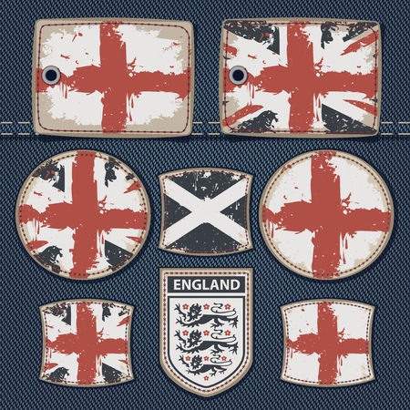 rivets: vector set of labels for jeans with pictures British flags on a background of denim Illustration
