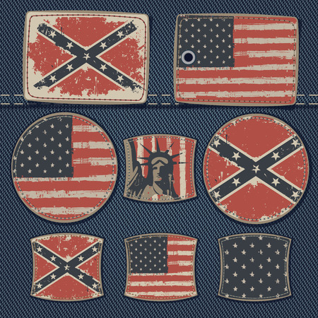 vector set of labels for jeans with pictures USA flags on a background of denim