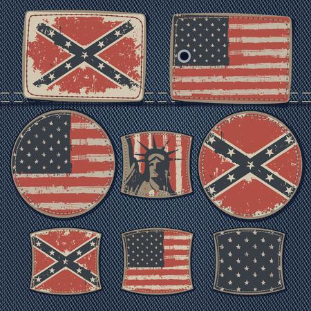 vector set of labels for jeans with pictures USA flags on a background of denim Ilustração Vetorial
