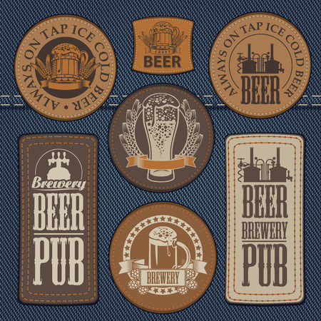 textured backgrounds: vector set of labels for jeans with pictures on the topic of beer pub on a background of denim