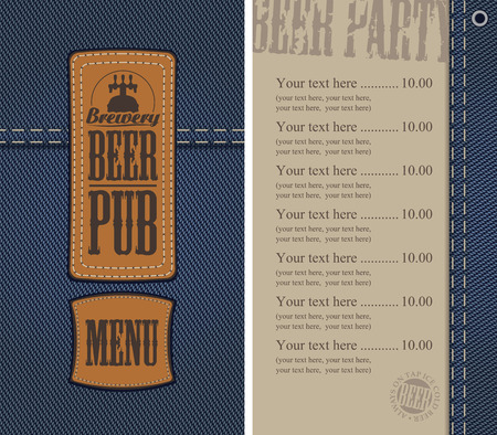 two: vector menu for beer pub on denim background with price list and two sewed leather labels Illustration