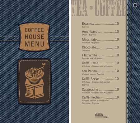 brown: vector menu for coffee house on denim background with price list and a leather label with a picture of an retro coffee grinder
