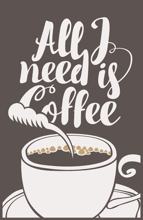 savor: vector banner with a cup of coffee and inscription all I need is coffee in retro style