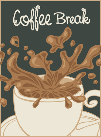 brown: vector banner with a cup of coffee and inscription coffee break in retro style Illustration