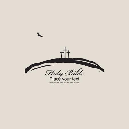 Mount Calvary met drie kruisen, vogel en opschrift Heilige Bijbel op beige achtergrond Stockfoto - 76038790