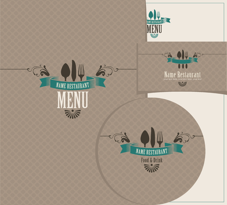 design elements: Set of design elements for a cafe or restaurant from the menu, business cards and coasters for drinks