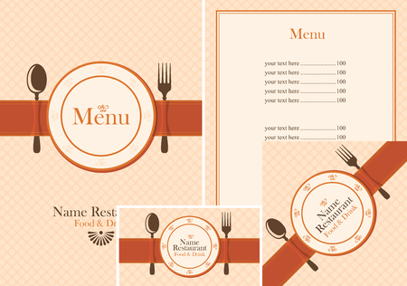 Set of design elements for a cafe or restaurant from the menu, price list, business cards and coasters for drinks