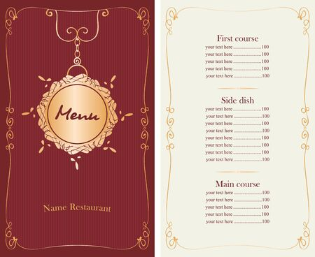 whorl: vector menu for restaurant or cafe with price list, gold pattern and curly frame in baroque style