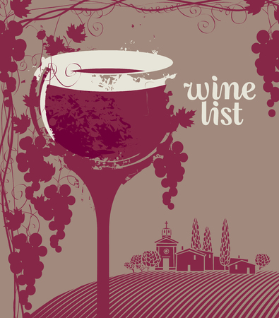 spot: Cover for a wine list menu with glass, bunch of grapes and landscape of vineyards and village