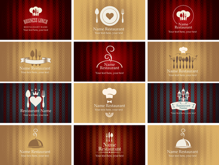 textured backgrounds: set of business cards on the theme of food and drinks on the background Illustration