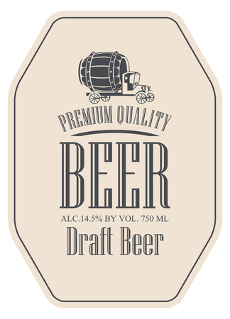 Template vector draft beer label with truck car on a beige background. Çizim