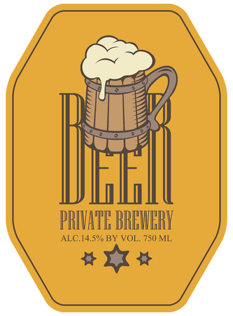 Template vector label for beer in a retro style with full wooden beer mug and stars on yellow background.