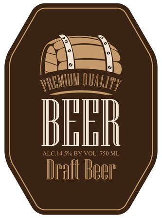 brown: Template vector label for draft beer in a retro style with wooden barrel on brown background. Illustration