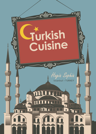 hagia sophia: Vector banner for a restaurant Turkish cuisine with turkish flag and Mosque Hagia Sophia