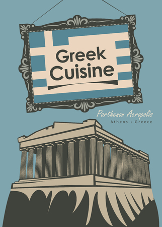 art museum: vector banner for a restaurant Greek cuisine with greek flag and Parthenon Acropolis