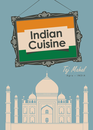 cover: vector banner for a restaurant Indian cuisine with indian flag and Taj Mahal