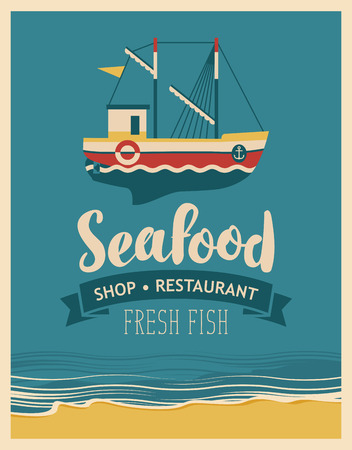 retro restaurant: Retro banner for a restaurant or seafood store with fishing boats against the background seascape with beach