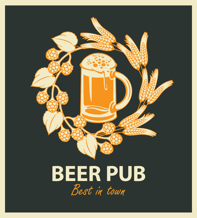 cold: vector emblem for beer pub with full beer glass and wreath of hop and wheat