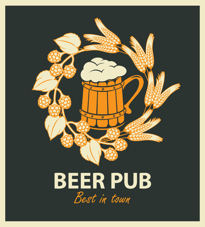 vector emblem for beer pub with full wooden beer mug and wreath of hop and wheat Çizim