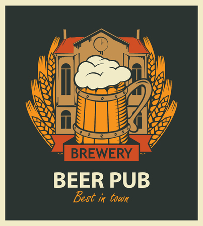 template vector beer pub label with brewery building, a mug of beer and wheat wreath in retro style