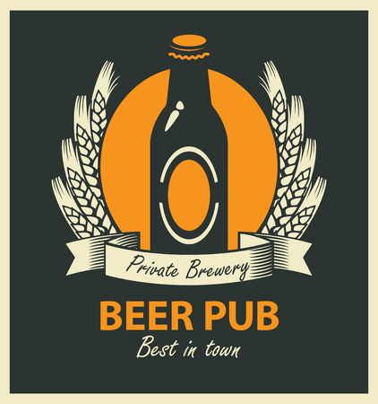 cover: vector emblem for beer pub with bottle, wheat ears and ribbon in retro style Illustration