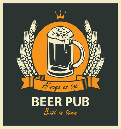 template vector beer pub label with beer glass, coat of arms, ears of wheat, ribbon and crown in retro style Çizim