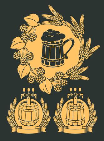 octoberfest: Set of vector emblem for beer on tap with wooden mug, beer barrels and wreaths