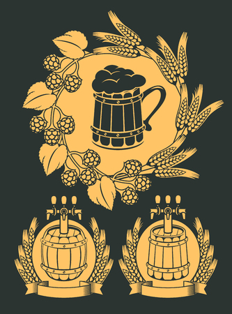 Set of vector emblem for beer on tap with wooden mug, beer barrels and wreaths