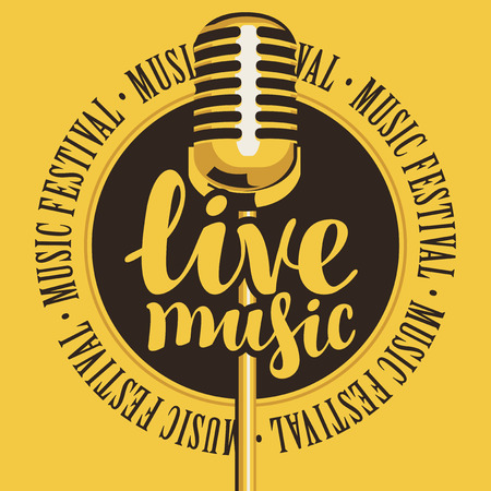 Vector banner with microphone, inscription live music and the words music festival, written around Illustration