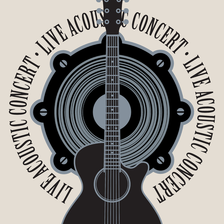 subwoofer: vector banner with a acoustic speaker, acoustic guitar and the words live acoustic concert, written around