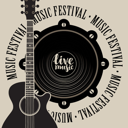 music: Vector banner with a acoustic speaker, acoustic guitar, inscription live music and the words music festival, written around