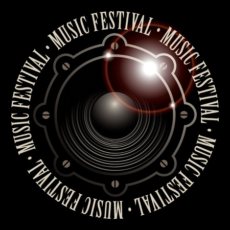 vector banner with a acoustic loudspeaker and the words music festival, written around