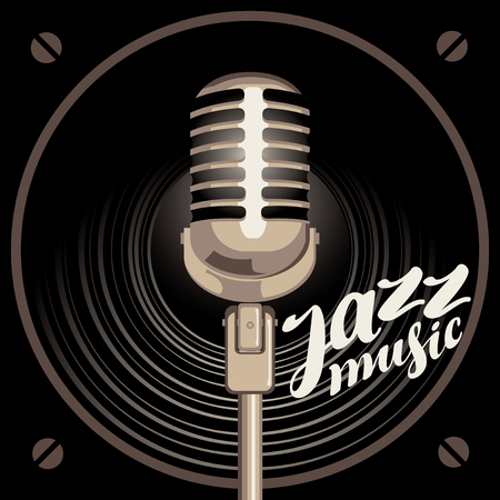 Vector poster for the jazz music with acoustic loudspeaker, microphone and handwritten lettering