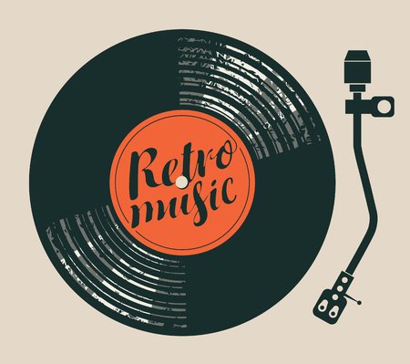 Vector Poster for the retro music with vinyl record, record player and handwriting lettering Illustration