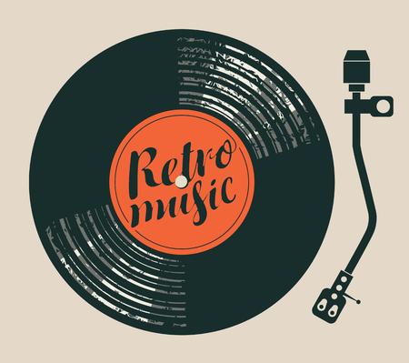 Vectoraffiche voor de retro muziek met vinylverslag, platenspeler en handschrift het van letters voorzien
