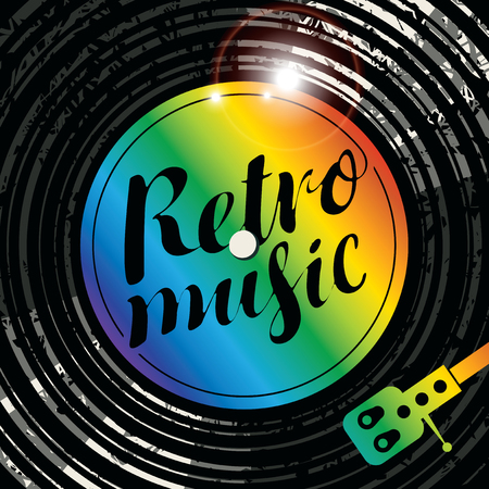 Vector Poster for the retro music with vinyl record, record player and multicolor lettering