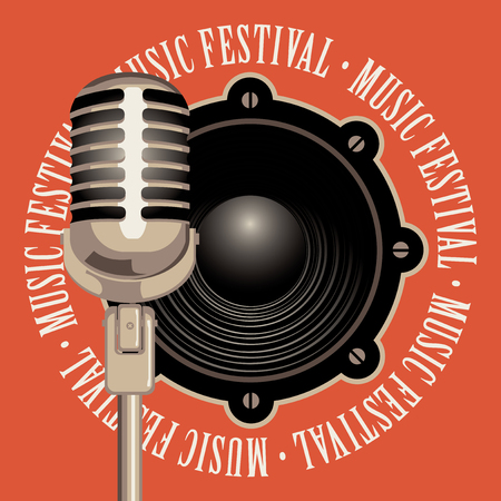 Vector banner with a acoustic speaker, microphone and the words music festival, written around on red background